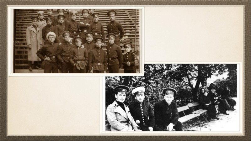 На фото гимназист Паустовский со своими товарищами (на обеих фотографиях он слева в светлой шинели и темной фуражке)