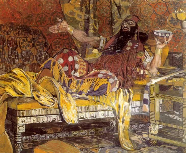 Александр ГОЛОВИН — Портрет Ф.И. Шаляпина в роли Олоферна (1908)