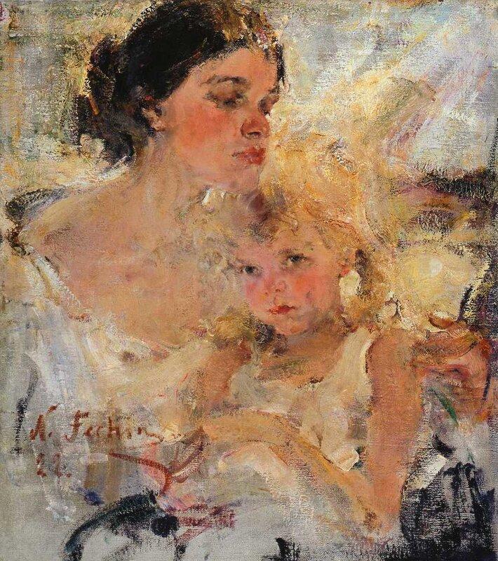 Николай Фешин. Миссис Фешина с дочерью. 1922.