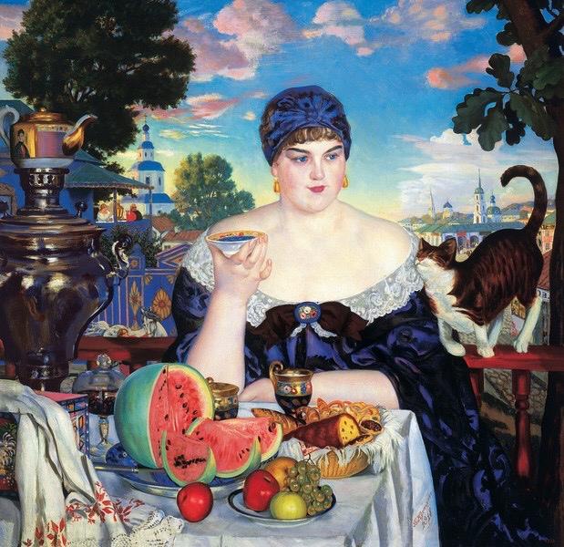 """Борис Кустодиев """"Купчиха за чаем"""" (1918)"""