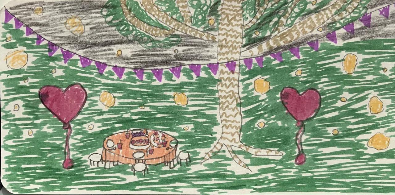 Галя нарисовала мне открытку в честь последнего дня лета