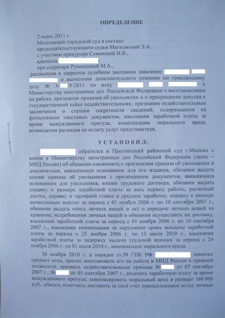 Мосгорсуд: судебная практика (определение от 02.06.2011 г., стр.1)