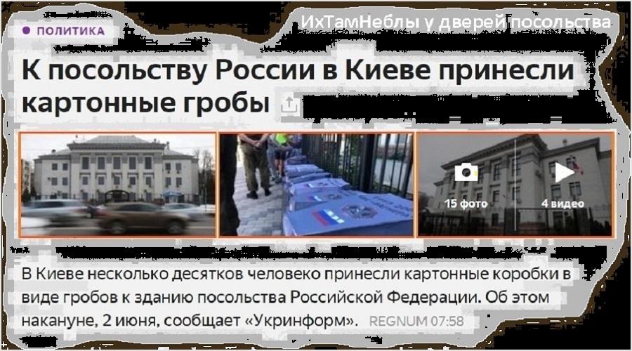 REGNUM_гробы у посольства РФ в Киеве