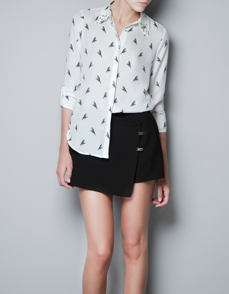blouse met vogels zara