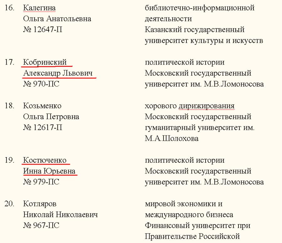 Приказ на Кобринского и Костюченко-професора