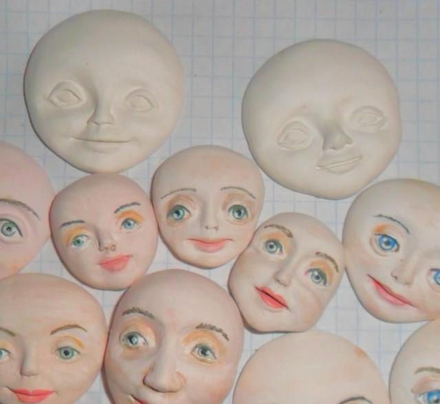 Дяченко Оксана. Авторские куклы и вязаные малыши: МК. Лепка стилизованной мордашки.