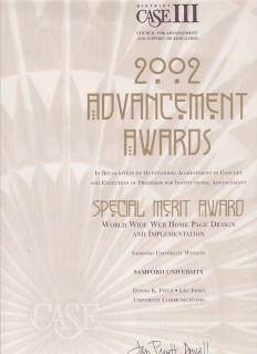 2002 Advancement Awards, Special Merit Award, CASE III