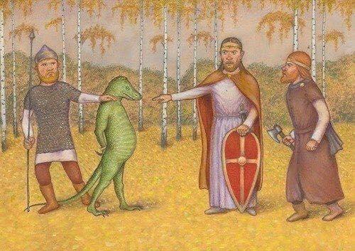 Пленение рептилоида, гравюра, Великий Новгород, 1154 г