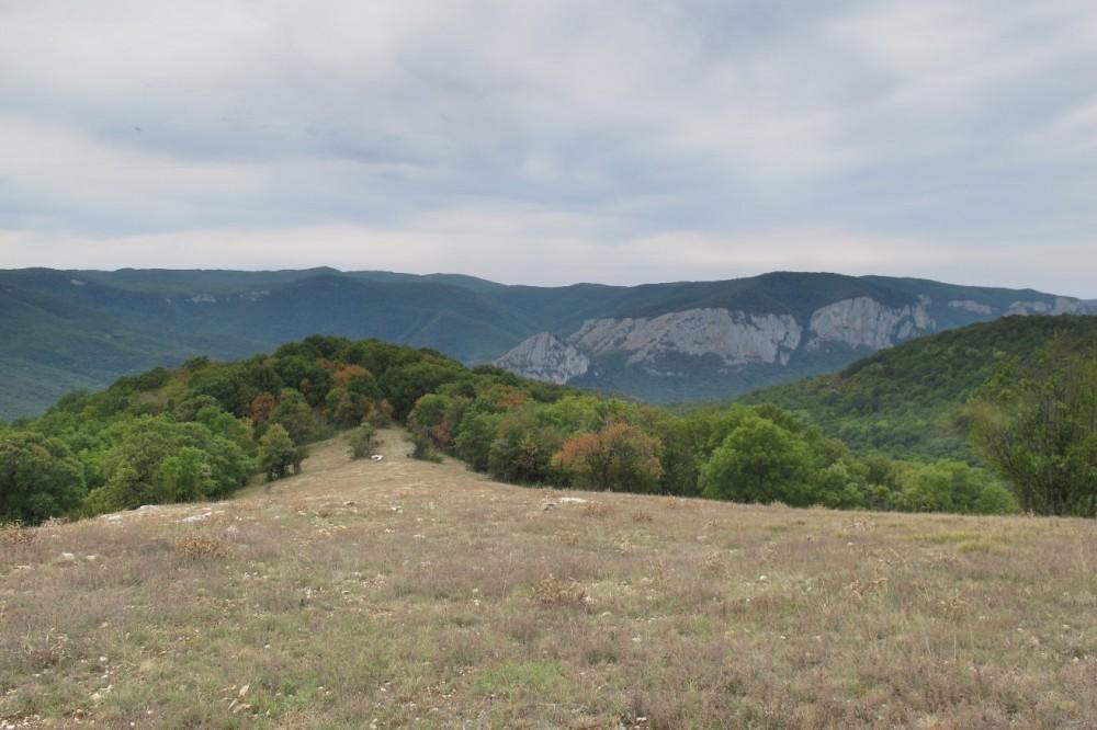 На западе это массив Седам-Кая и прочие отроги Ай-Петринской яйлы.