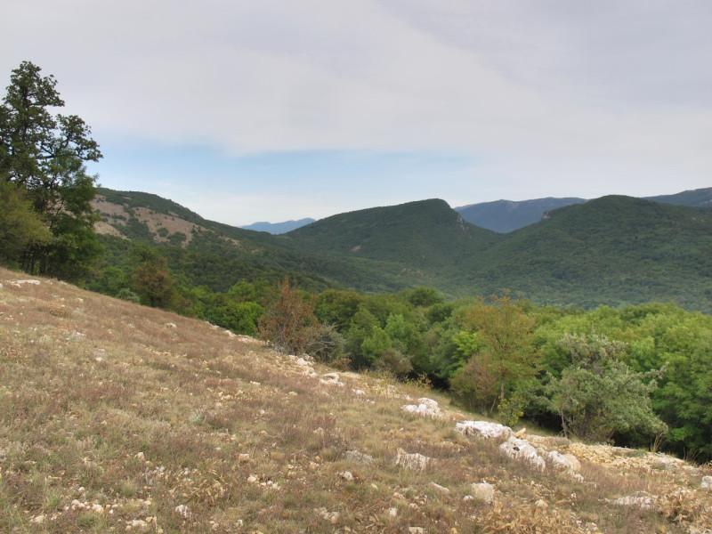 На востоке - сначала вершины Бойкинского массива Караул-Кая и Куш-Кая, а потом и видные в седловинах горы Ялтинской яйлы и хр. Синап-Даг.