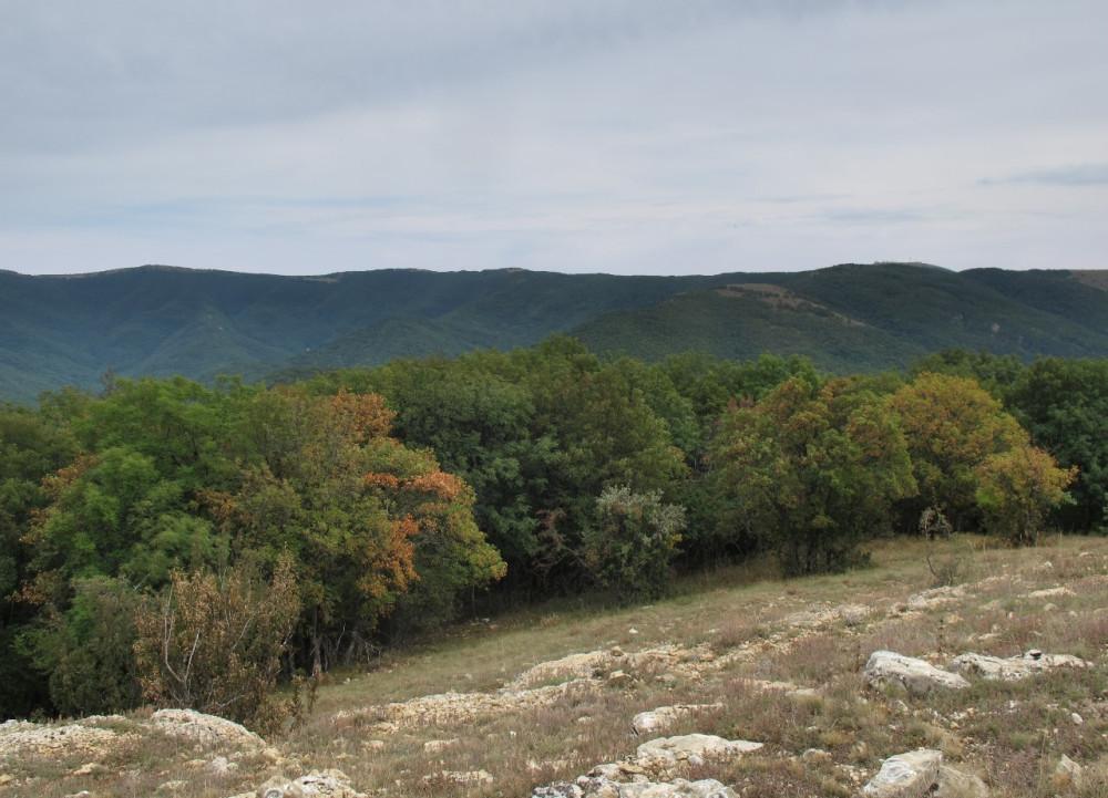 На юге - Ай-Петринская яйла с отрогами от Саламлара и Бедене-Кыр до гор Рока и Комбополо.