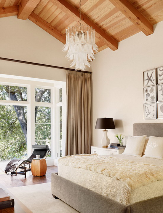 Contemporary-Bedroom-with-Brown-Curtains