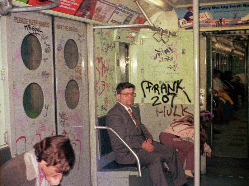 Subway 1973-style with graffitti. March 1973. New York