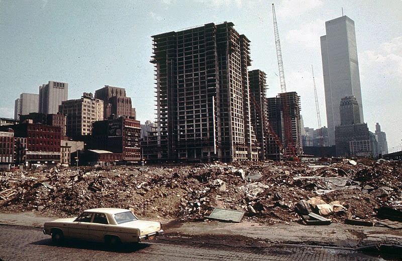 Independence Plaza North going up in what is now Tribeca in Lower Manhattan. Looking south from near the West Side Highway to the World Trade Center. New York. May 1973