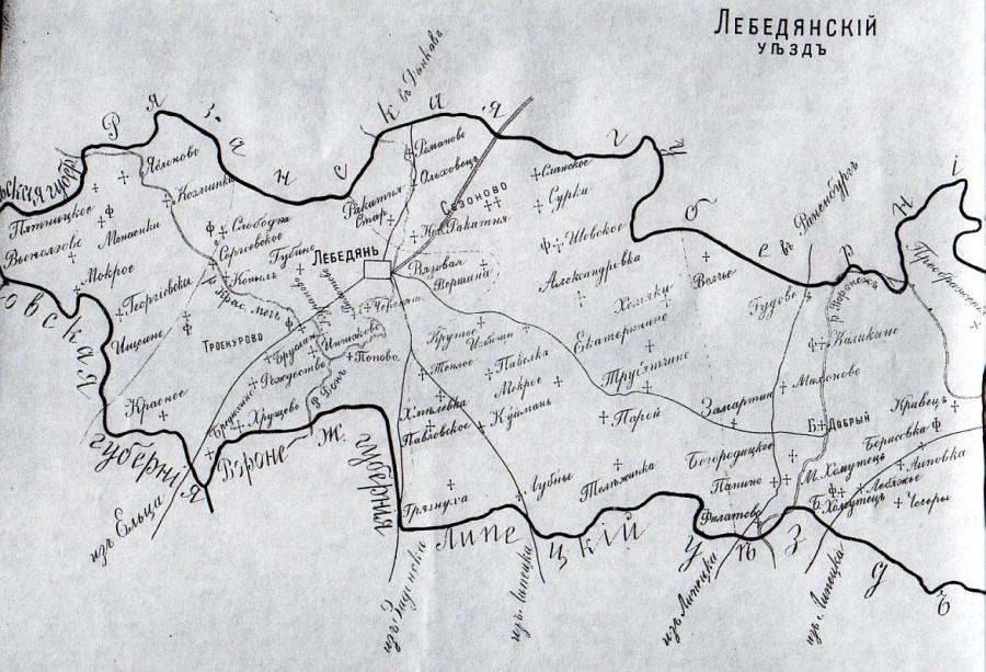 6 карта лебедянского уезда 1911 год
