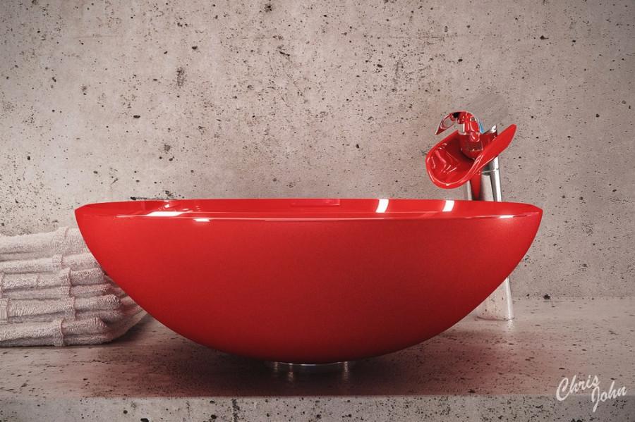 Modern-bath-with-red-vessel-sink