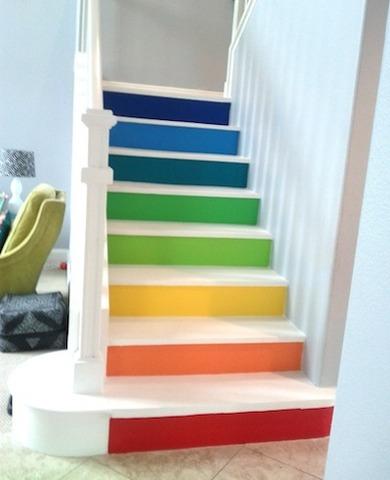Multi-colored-painted-stairs-bfarhardesign