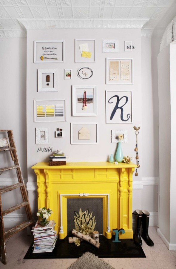 how-to-use-faux-fireplace-in-home-decor-yellow-mantel