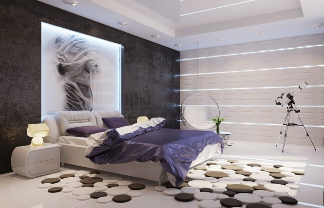 Contemporary-purple-white-black-bedroom-665x427
