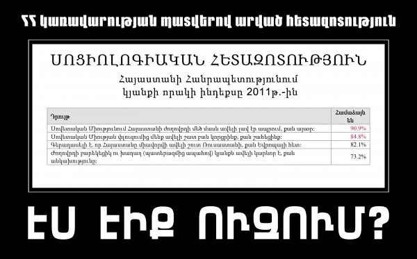 Соц. опрос, сделанный по заказу правительства Армении. Доклад опубликован на сайте правительства 20 марта 2012 года.
