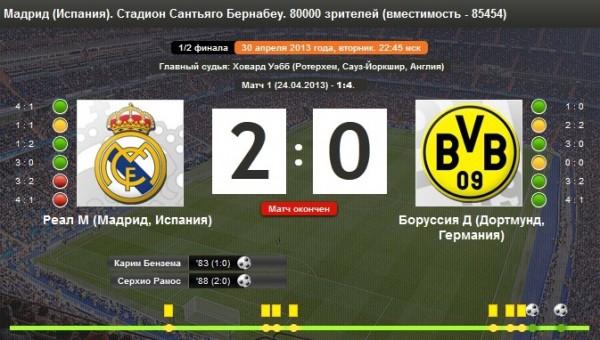 Реал мадрид боруссия ответный матч счет