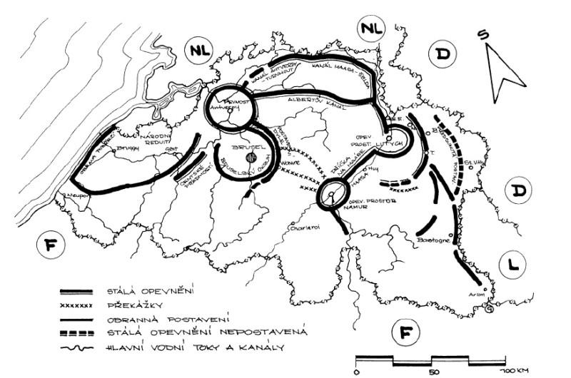 Карта Бельгийского королевства с обозначенными укрепленными линиями