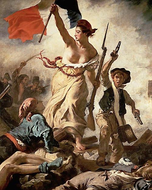 Эжен Делакруа. Свобода ведущая народ. 1830. Фрагмент