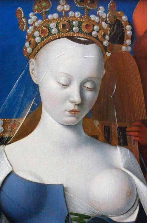 Жан Фуке. Богоматерь с младенцем в окружении ангелов. ок. 1450. Фрагмент
