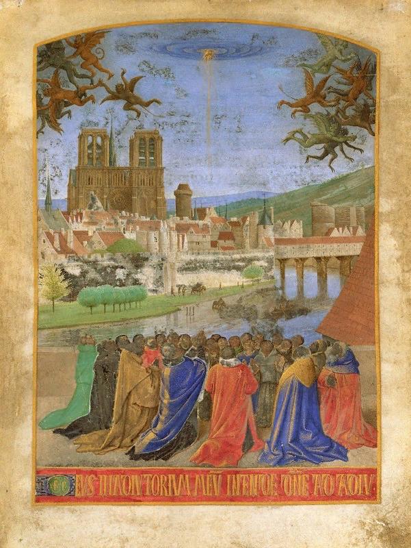 Жан Фуке. Праведная рука Господа, защищающая верующих от демона. ок. 1460