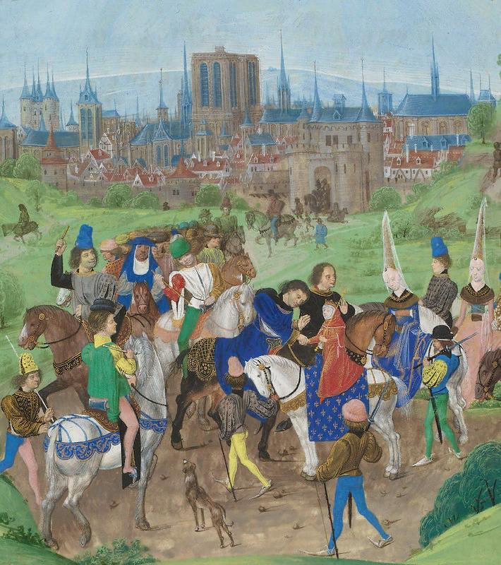 """Прибытие в Париж молодого герцога Луи II Анжуйского. Миниатюра  из """"Хроники Жана Фруассара"""", ок. 1475"""