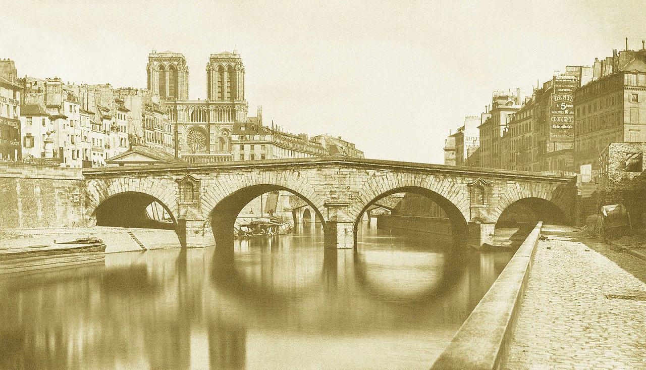 Огюст-Ипполит Коллар. Вид на мост Сен-Мишель и Нотр-Дам де Пари. 1857