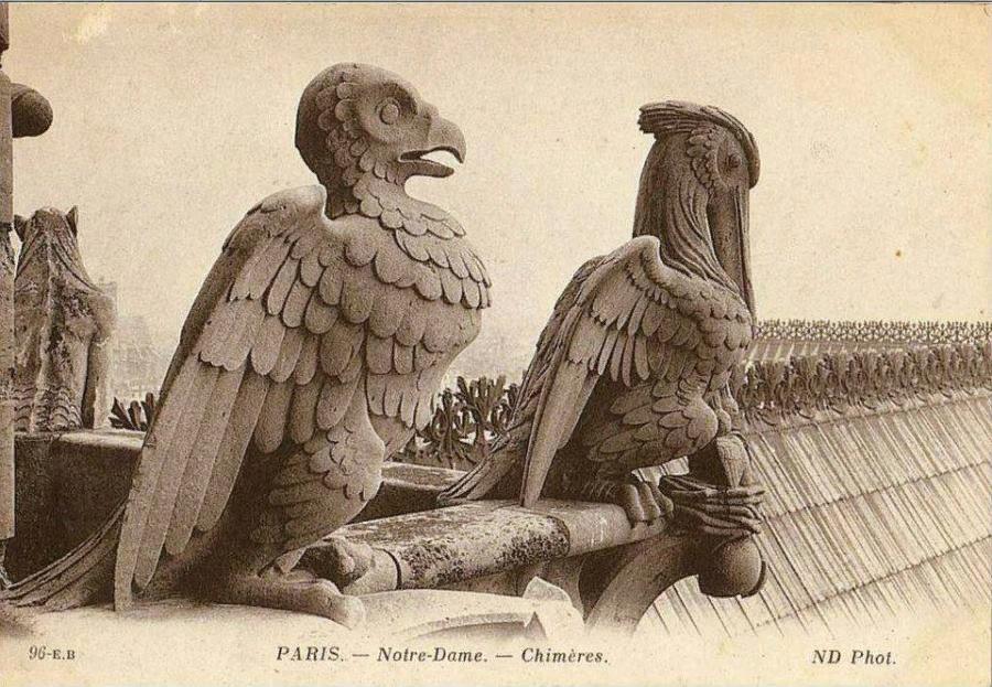 Химеры Нотр-Дам де Пари. Фото неизвестного художника, между 1875-1900