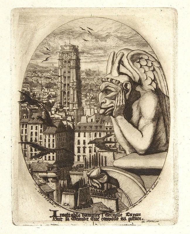 Шарль Мерион. Химера Стрикс. Офорт 1853.