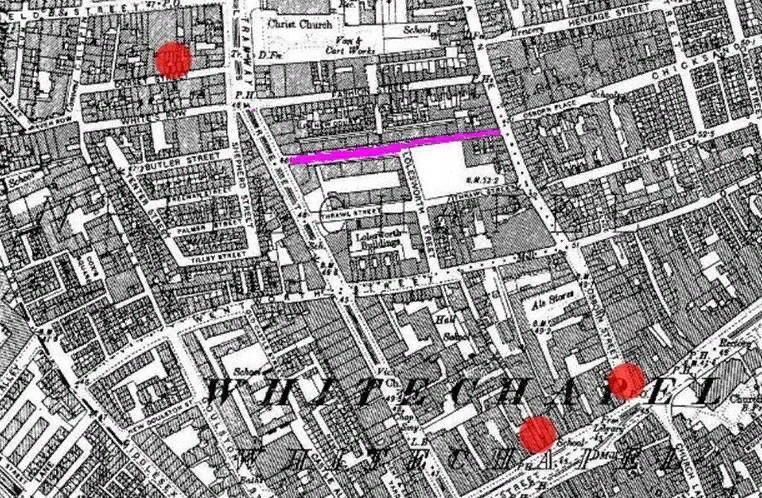 Карта Уайтчепеля 1880-ых г.г. Цветными значками отмечены места совершения некоторых преступлений