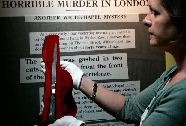 Нож, которым предположительно орудовал Джек-Потрошитель. Выставка «Джек Потрошитель и Ист-Энд», Лондон, 2008