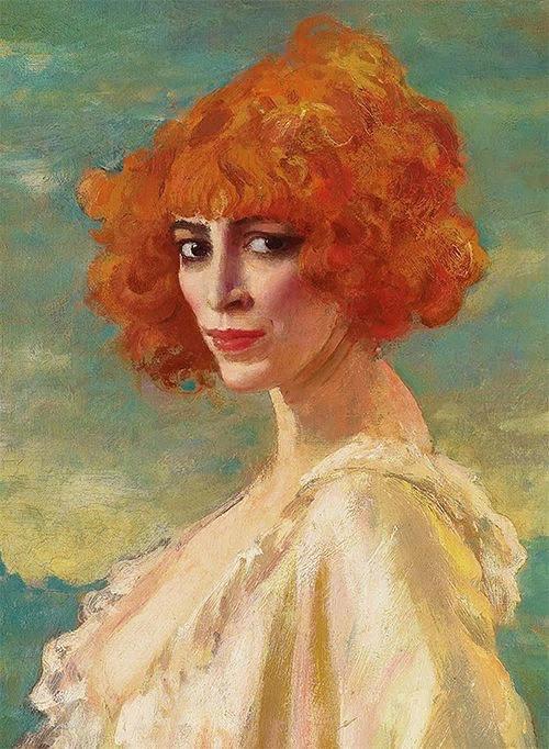Аугустус Эдвин Джон. Портрет маркизы Луизы Казати. Фрагмент.