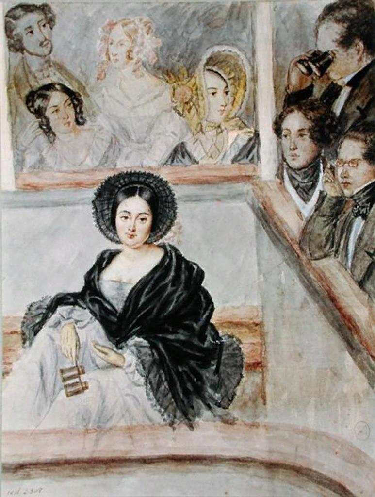 Камиль Рокеплен. Мари Дюплесси в театре. Акварель.