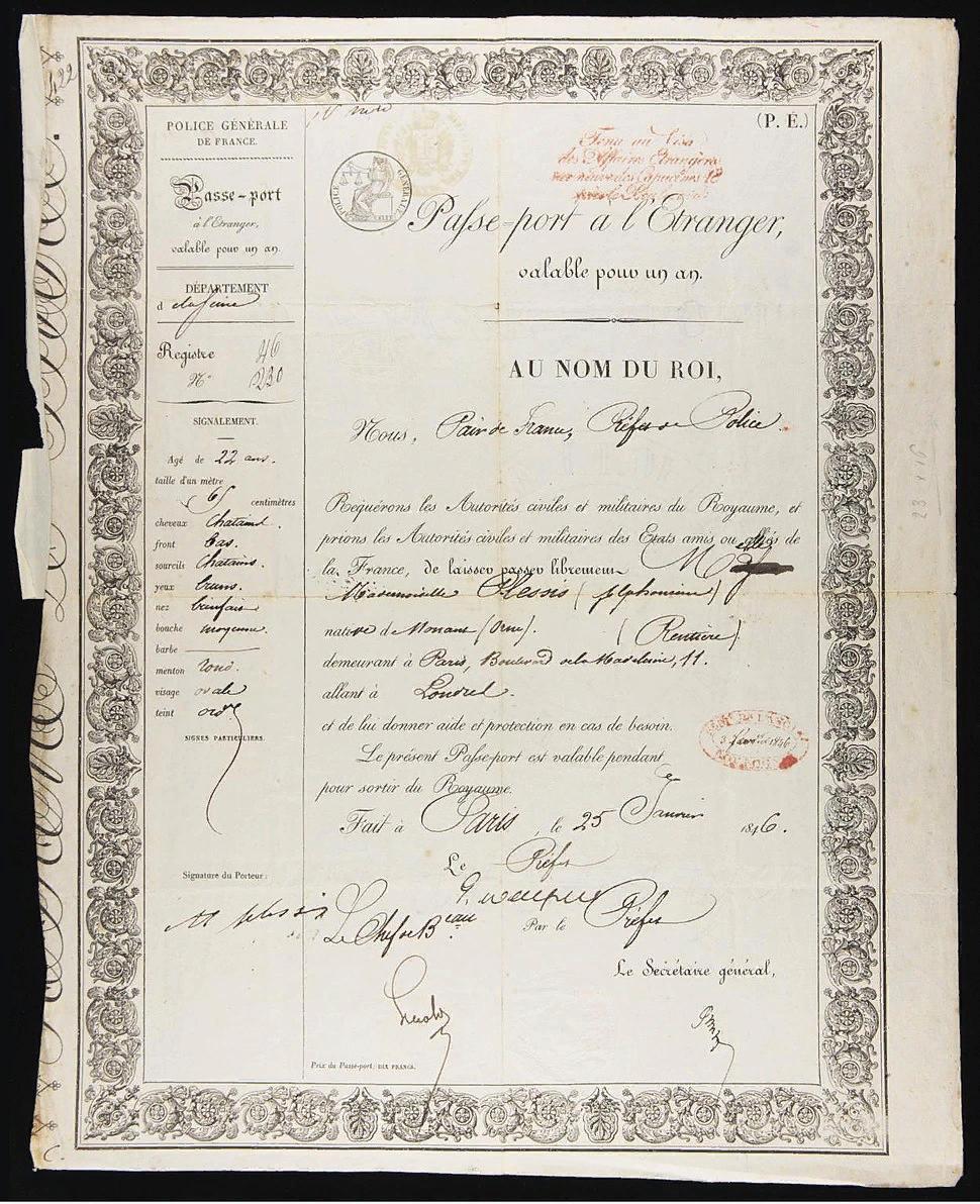 Паспорт Роз Альфонсин Плесси. январь 1846