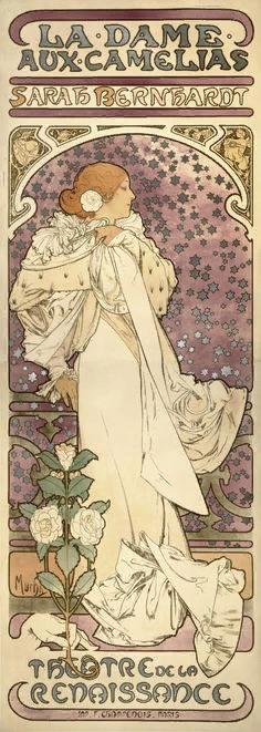 """Альфонс Муха. Афиша спектакля """"Дама с камелиями"""" с Сарой Бернар в главной роли. 1896"""