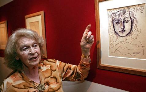 Ж.Лапорт  на фоне рисунка П.Пикассо (1951) со своим изображением