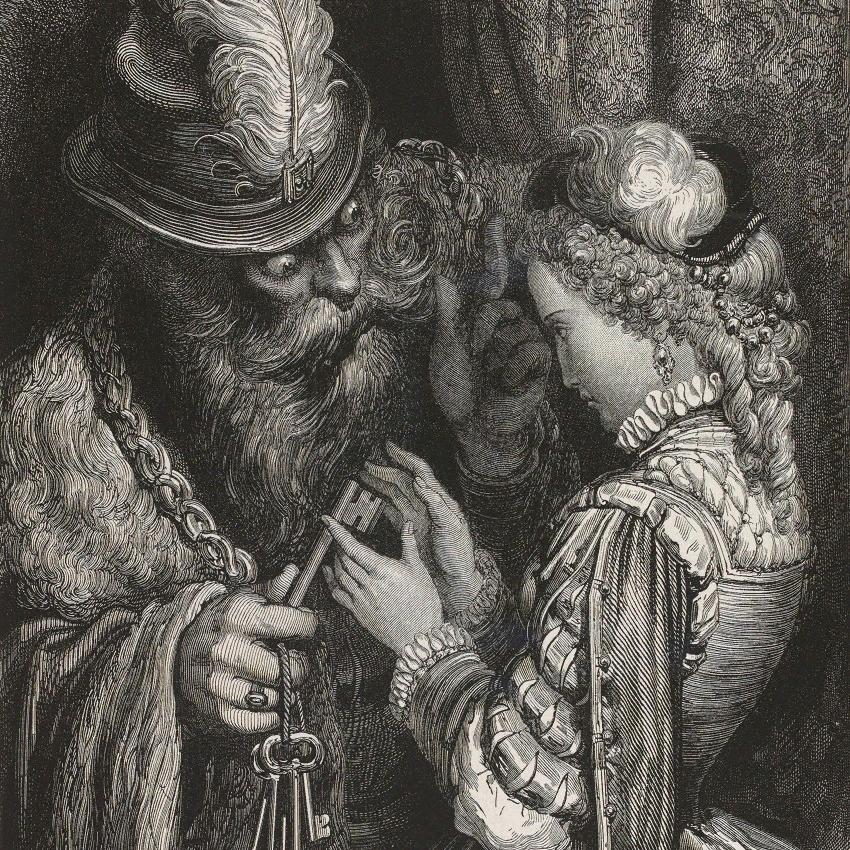 """Гюстав Доре. Иллюстрация к сказке """"Синяя борода"""""""