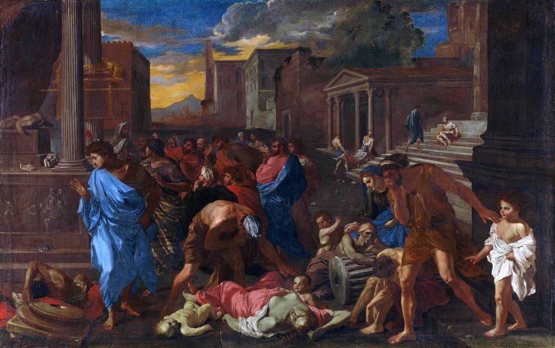 Никола Пуссен. Чума в Ашдоде. ок. 1631. Лувр, Париж. Художник создал картину, вдохновившись библейским сюжетом, а также собственным опытом: в 1630 г. он был застигнут чумой в Риме.
