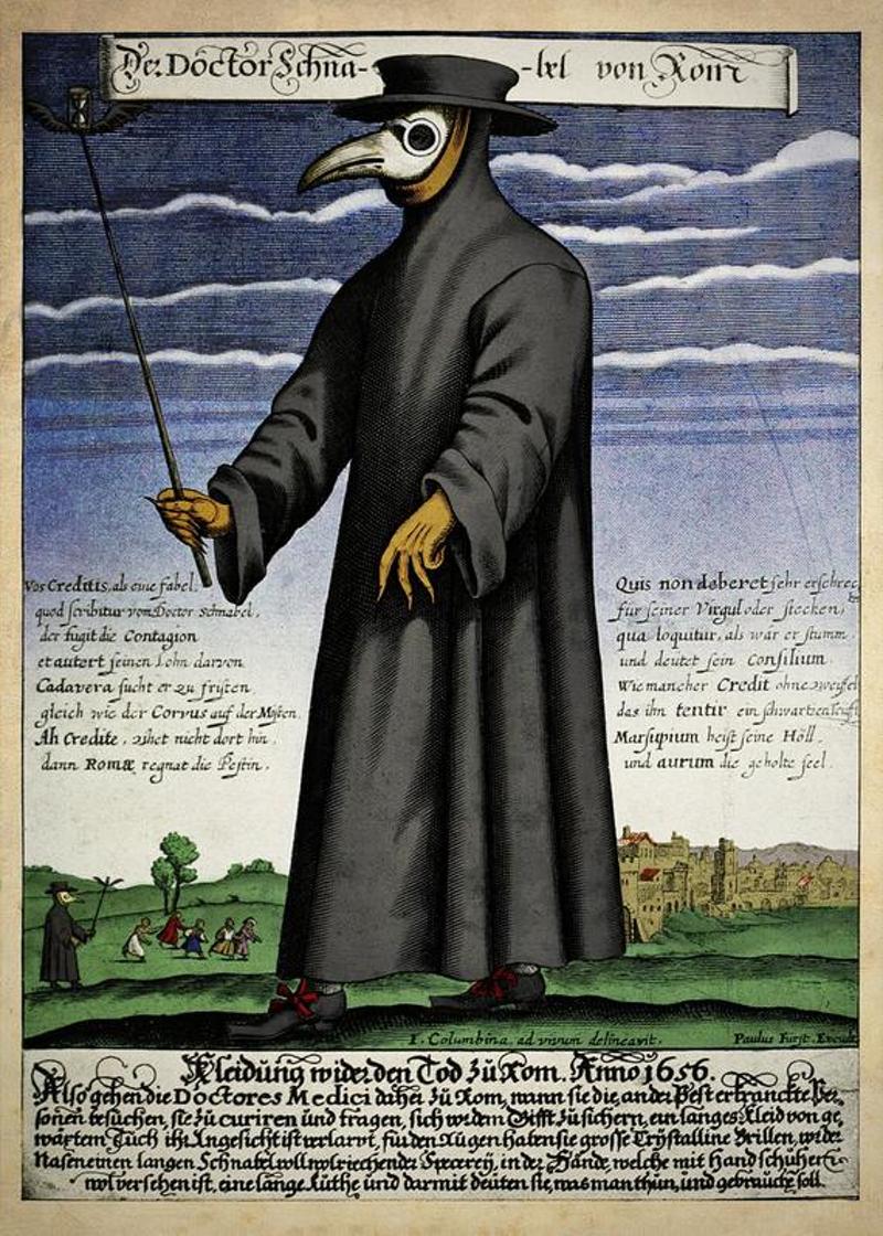 Чумной доктор (доктор Шнабель). Немецкая гравюра, ок. 1656.