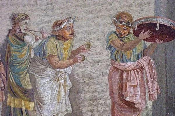 Авлетрида аккомпанирует на пиру. Фреска Виллы Цицерона, Помпеи.
