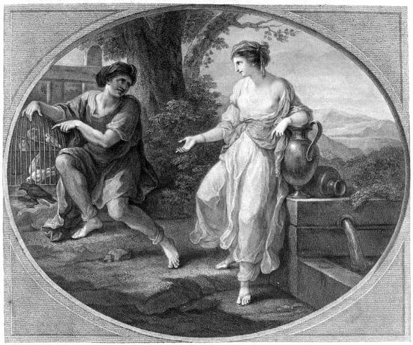 Родопсис и Эзоп. Гравюра 1782.