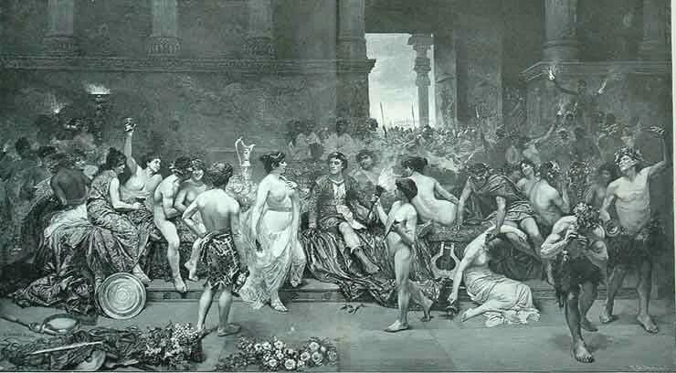 Ж.Симони. Таис уговаривает Александра поджечь Персеполис.
