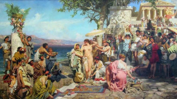 Генрих Семирадский. Фрина на празднике Посейдона в Элевзине. 1889.