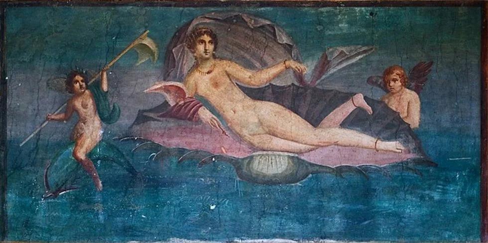 Афродита. Помпеи, римская копия древнегреческой мозаики.