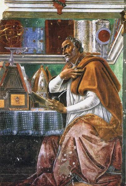 Сандро Боттичелли. Святой Августин Блаженный в молитвенном созерцании. Фреска.
