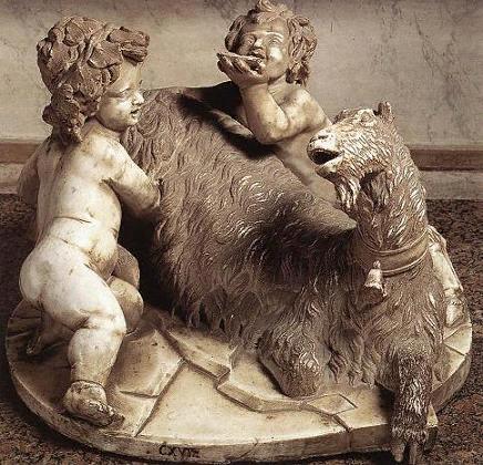 Д.Бернини. Коза Амалфея с Зевсом и Фавном. 1615